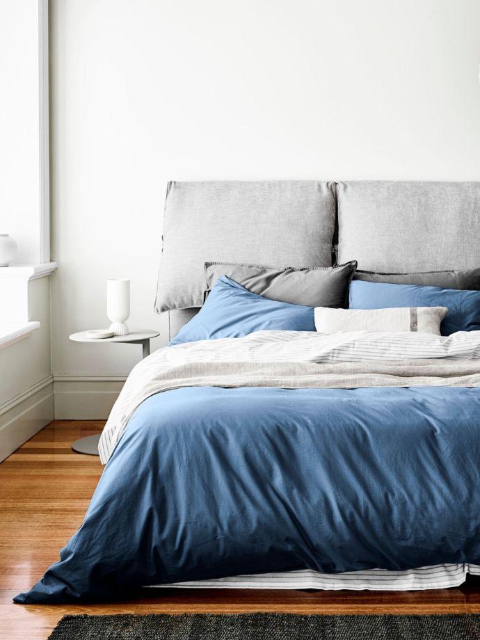 Bijou Blue Halo Organic Cotton Quilt, Organic Linen Bedding Nz