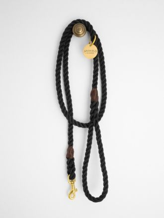 Midnight Black & Brass Rope Dog Leash by Animals In Charge