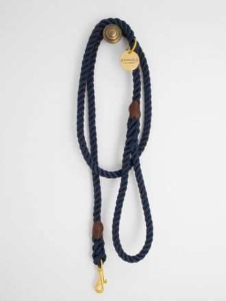 Royal Navy & Brass Rope Dog Leash by Animals In Charge