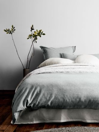 Chambray Fringe Quilt Cover - Limestone