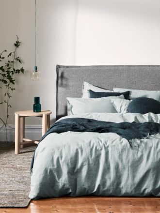 Chambray Fringe Quilt Cover - Mineral