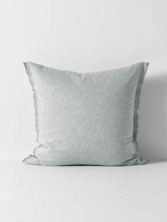 Chambray Fringe European Pillowcase - Limestone