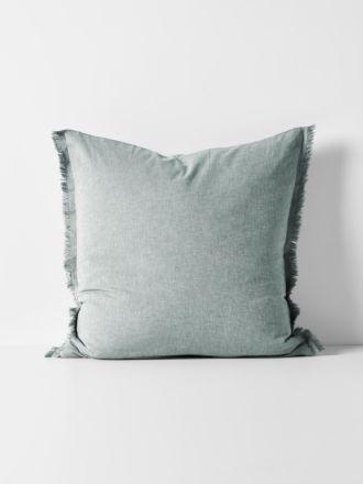 Chambray Fringe European Pillowcase - Mineral
