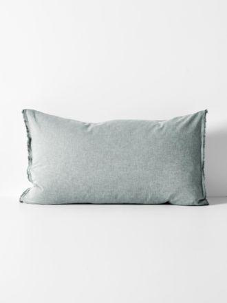 Chambray Fringe Standard Pillowcase - Mineral