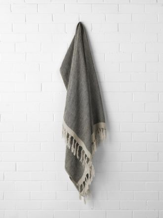 Chambray Linen Throw - Black