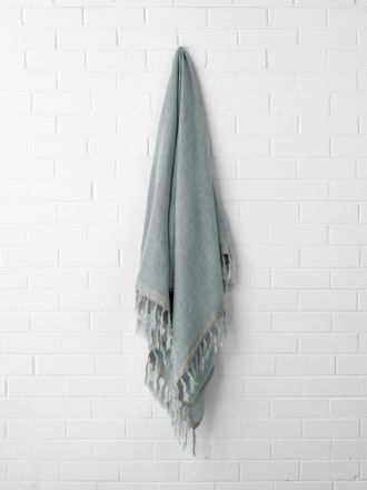 Chambray Linen Throw - Cloud Blue