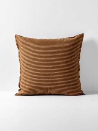 Chambray Vintage Stripe European Pillowcase - Cinnamon