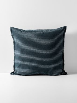 Chambray Vintage Stripe European Pillowcase - Slate