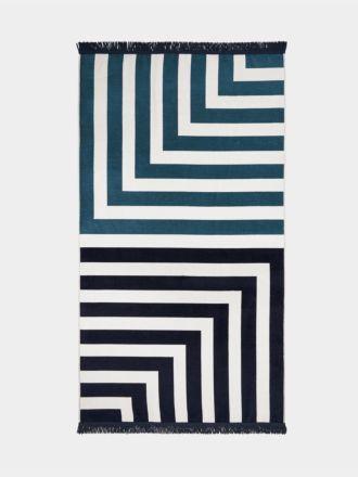 Corner Stripe Beach Towel - Indigo