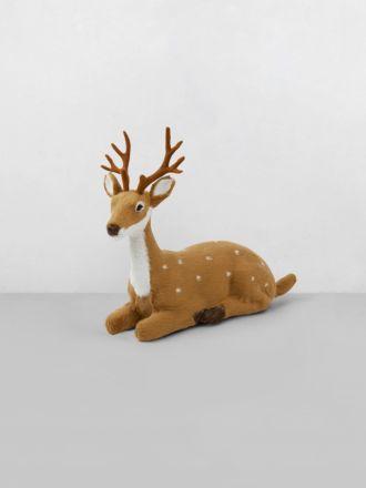 Sitting Reindeer Decoration - Grey