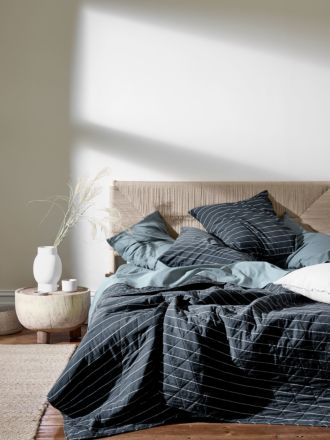 French Stripe Organic Cotton Bed Cover - Steel