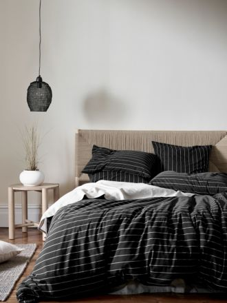 French Stripe Organic Cotton Quilt Cover - Black