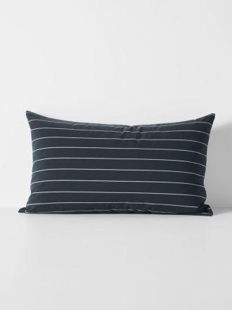 French Stripe Organic Cotton Standard Pillowcase - Steel