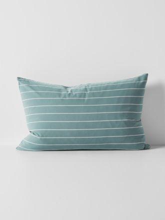 French Stripe Organic Cotton Standard Pillowcase - Atlantic