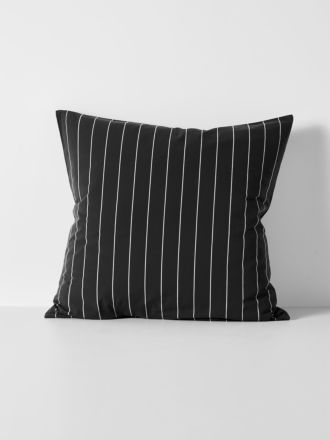 French Stripe Organic Cotton European Pillowcase - Black