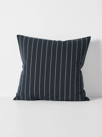 French Stripe Organic Cotton European Pillowcase - Steel