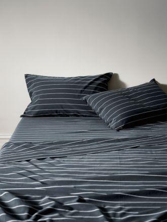 French Stripe Organic Cotton Sheet Set - Steel