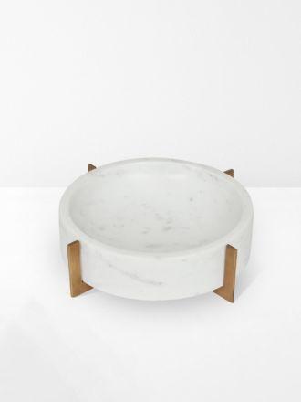 White Marble Ridge Round Bowl