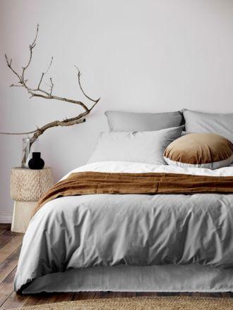 Halo Organic Cotton Quilt Cover - Pebble