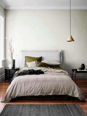 Heirloom Stripe Quilt Cover - Khaki