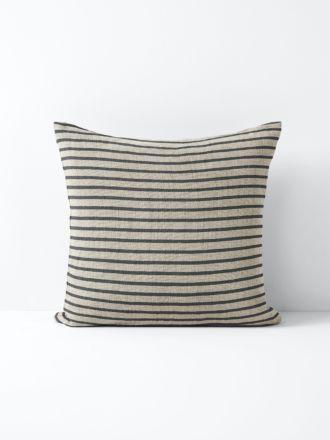 Heirloom Stripe Cushion - Charcoal