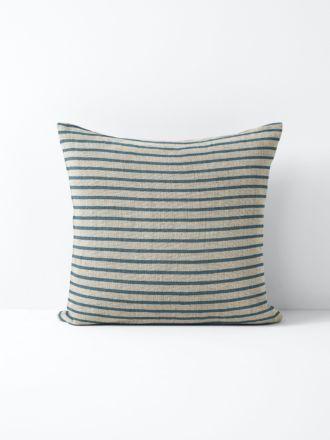 Heirloom Stripe Cushion - Indian Teal