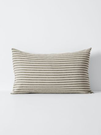 Heirloom Stripe Standard Pillowcase - Khaki