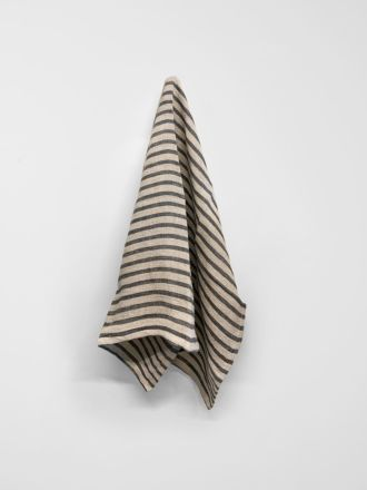 Heirloom Stripe Tea Towel - Charcoal
