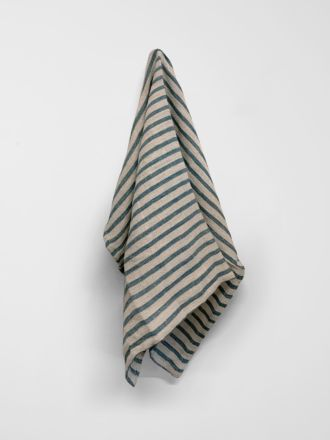 Heirloom Stripe Tea Towel - Indian Teal