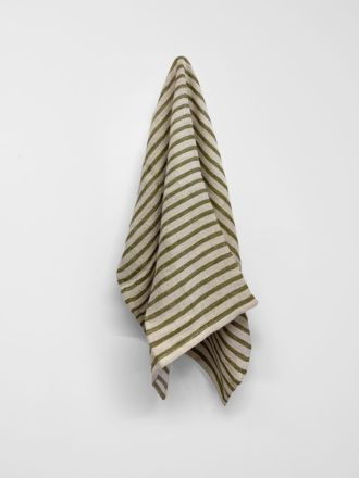 Heirloom Stripe Tea Towel - Khaki