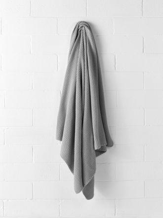 Jumbo Moss Stitch Throw - Grey Marle
