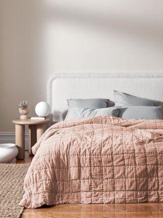 Luxury Velvet Bed Cover - Rosewater