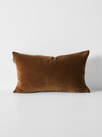 Luxury Velvet Rectangle Cushion - Tobacco