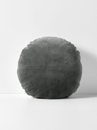 Luxury Velvet 55cm Round Cushion - Charcoal