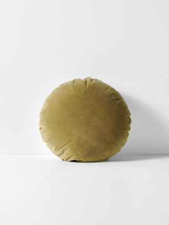 Luxury Velvet 45cm Round Cushion - Olive