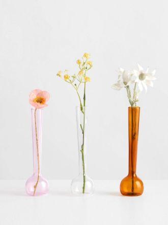 Margot Vase Trio Amber/Pink/Clear