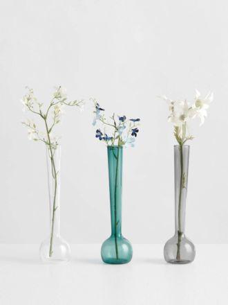 Margot Vase Trio by Maison Balzac - Smoke/Teal/Clear