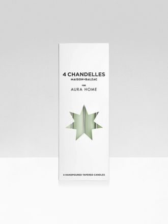 Limestone Chandelles 4Pk Tapered Candles by Maison Balzac x Aura