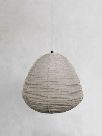 Fringed Linen Light Shade Large - Natural