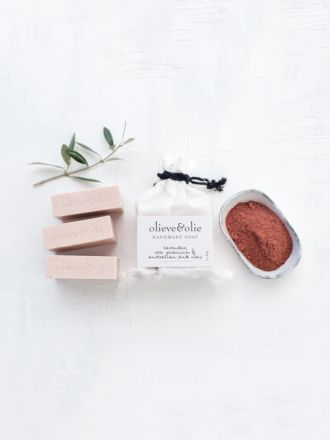 Rose Geranium & Pink Clay 3 Pack Soap by Olieve