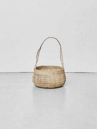 Lally Woven Basket with Long Handle Small