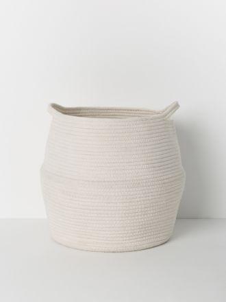 White Port Cotton Rope Basket Large