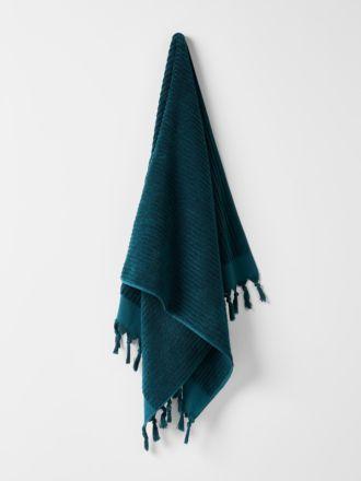 Paros Rib Bath Sheet - Indian Teal