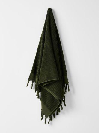 Paros Rib Bath Towel - Olive Night