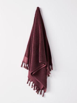 Paros Rib Bath Towel - Syrah