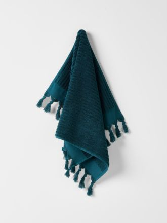 Paros Rib Hand Towel - Indian Teal
