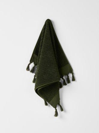 Paros Rib Hand Towel - Olive Night