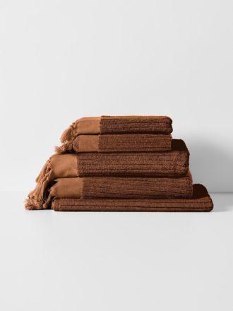 Paros Rib Bath Towel Set - Bronze