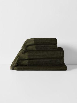 Paros Rib Bath Towel Set - Olive Night