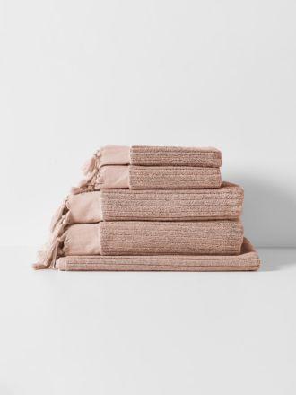 Paros Rib Bath Towel Set - Shell